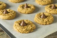 Domowej roboty Słodcy masło orzechowe czekolady ciastka Fotografia Royalty Free