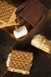 Domowej roboty S'more z czekoladą i marshmallow obraz royalty free