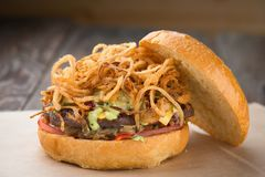 Domowej roboty serowy hamburger lub hamburger zdjęcie royalty free