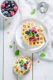 Domowej roboty smakowici gofry z jagodowymi owoc i nowymi liśćmi obrazy stock