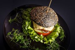 Domowej roboty smakowity hamburger z wołowiną, serem i karmelizować cebulami, obrazy stock