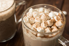 Domowej roboty solony czekoladowy latte z marshmallows Fotografia Royalty Free