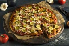 Domowej roboty Tłusta hamburger pizza zdjęcia stock