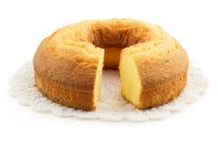 Domowej roboty tort nad doily Zdjęcia Stock