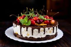 Domowej roboty tort z czekoladowym lodowaceniem i owoc zdjęcie royalty free