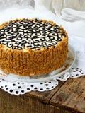 Domowej roboty tort z dokrętki bezy masła śmietanką i dekorujący z zawijasami ciemna czekolada Kyiv tortowy lub tortowy lot Polet Obraz Stock