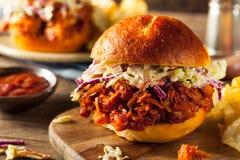 Domowej roboty weganin Ciągnąca Jackfruit BBQ kanapka Fotografia Royalty Free