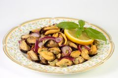 Domowej roboty wyśmienicie lato sałatka z mussels, czerwoną cebulą, oliwa z oliwek, cytryną i basilem, Obrazy Stock