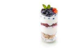 Domowej roboty zdrowy śniadanie z jogurtem, jagodą i oatmeal, obraz stock