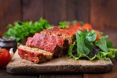 Domowej roboty zmielony meatloaf z warzywami Obrazy Stock