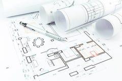 Domowi budowa plany, ołówek i Fotografia Royalty Free