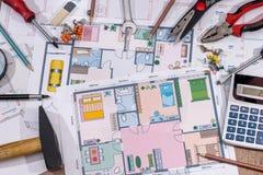 Domowi budowa plany z rysunkowymi narzędziami Fotografia Royalty Free