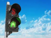 Domowi i dolarowi symbole na światła ruchu Savings e lub real ilustracja wektor