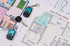 Domowi klucze, cctv z domową budową, Zdjęcie Stock
