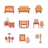 Domowi mebli znaki ustawiający Cienkie kreskowej sztuki ikony Obrazy Royalty Free