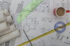 Domowi odbudowa plany Zdjęcia Royalty Free