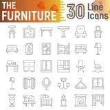 Domowi urządzenia cienieją kreskowego ikona set, kitchenware symbole kolekcja, wektorów nakreślenia, logo ilustracje, gospodarstw ilustracja wektor