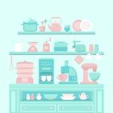 Domowi urządzenia i naczynia royalty ilustracja