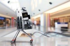 Domowi urządzenia w wózek na zakupy handlu elektronicznym online zakupy lub ilustracja wektor