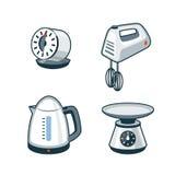 Domowi urządzenia 4 - zegar, ręka melanżer, Elektryczny czajnik, kuchnia Obraz Royalty Free