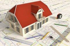 Domowy Architektoniczny rysunek I układ Fotografia Stock