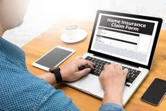 Domowy Asekuracyjnego żądania formy dokumentu zwrota domu ubezpieczenie Obrazy Stock