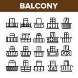 Domowy balkon Tworzy Liniowe Wektorowe ikony Ustawia? ilustracja wektor