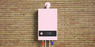 Domowy benzynowy bojler, wodny nagrzewacz na ścianie z cegieł, frontowy widok ilustracji
