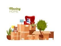 domowy chodzenie Ruszać się z pudełkami nowy dom Stos brogujący kartony z meble, krzesło, usyp, rośliny, kot mieszkanie ilustracji