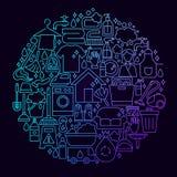 Domowy Cleaning ikony okręgu pojęcie Zdjęcie Stock