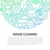 Domowy Cleaning linii pojęcie Obraz Royalty Free