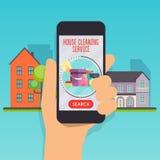 Domowy cleaning usługa pojęcie ręki mienia telefon komórkowy mądrze Obraz Stock