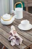 Domowy dekoracja szczegółu stołu herbaty set Zdjęcia Royalty Free