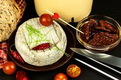 Domowy dorośleć foremka ser Odosobneni przedmioty Aromatyczny ser z foremką obraz stock
