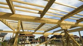 Domowy drewniany domowy w budowie Fotografia Royalty Free