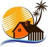 Domowy drzewny palmy plaży logo ilustracja wektor