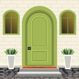 Domowy drzwi przód z progiem i kroki, lampa, kwiaty w garnkach, buduje hasłową fasadę, zewnętrzny wejście z ściana z cegieł proje royalty ilustracja