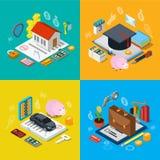 Domowy hipoteki giełdy papierów wartościowych portfolio mieszkania 3d isometric wektor Obrazy Royalty Free