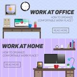 Domowy i biurowy miejsca pracy pojęcie wektor ilustracja wektor