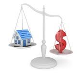 Domowy i dolarowy symbolu równoważenie Obraz Stock