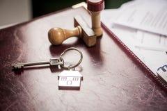 Domowy klucz w biurze Fotografia Stock
