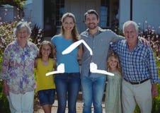Domowy kontur z wielo- pokolenia rodzinną pozycją w tle Zdjęcie Stock