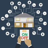 domowy mądrze Płaskiego projekta stylu ilustracyjny pojęcie mądrze domowy technologia system z centralizującą kontrola Obraz Stock