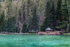 domowy mały drewniany Góry i drzewa odbijają w zimnym jeziorze w Gressoney fotografia royalty free