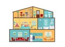 Domowy model z wewnątrz Szczegółowi wnętrza z meble i wystrojem w płaskim wektorze projektują Duży dom w cięciu Chałupy cutaway z ilustracji