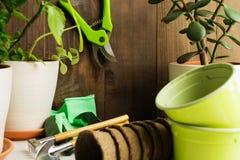 Domowy ogrodowy pojęcie z garnkami, rośliny, narzędzia Zdjęcia Royalty Free