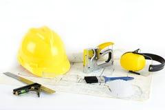 Domowy plan, hardhat i narzędzia, Obraz Stock