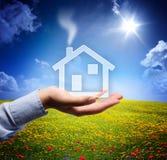 Domowy pojęcie w twój ręce - spokojna scena Zdjęcia Stock
