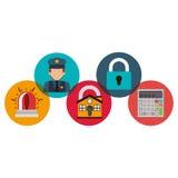 Domowy policjant kłódki i alarma projekt ilustracja wektor