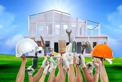 Domowy pracujący narzędzie przeciw domu wzoru tła use dla const Zdjęcia Stock